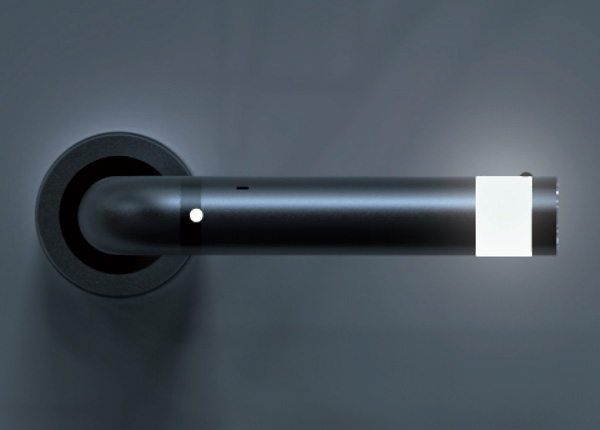 Door handle that turns into a mood light, lead light and a flash light
